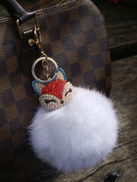 Real Fur Ball Bling Fox Head Keychain Bag Charm – White