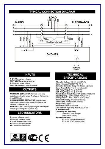 datakom dkg 173 230 400v generator mains automatic transfer switch panel ats desertcart