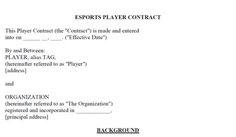 creating an esport player contract template part 1