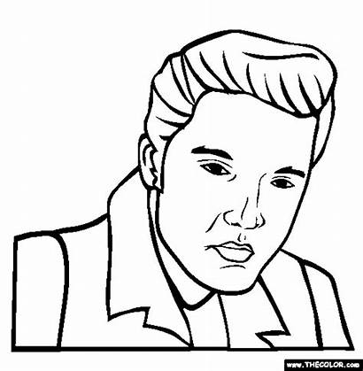 Coloring Elvis Pages Presley Famous Drawings Celebrity
