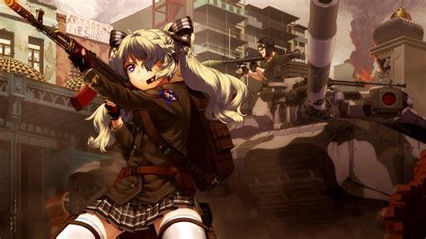 wallpaper gun anime girls weapon tank skirt