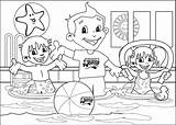 Colouring Pool Swimming Lessons sketch template