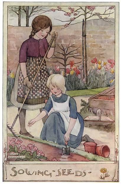 Illustration Anderson Children Anne Sowing Seeds Garden