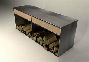Kaminholzregal Außen Metall : design metallmoebel sideboard brennholz kaminholzaufbewahrung aus stahl holz eiche stahlzart ~ Frokenaadalensverden.com Haus und Dekorationen