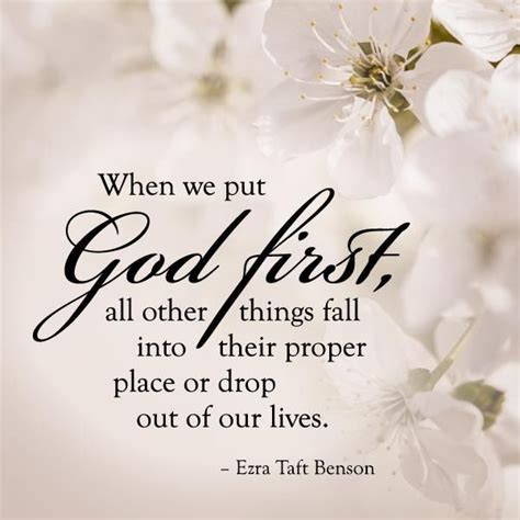 """We use god only for the sake of getting peace and joy. """"When we put God first and in the forefront of everything else, all other things fall into ..."""