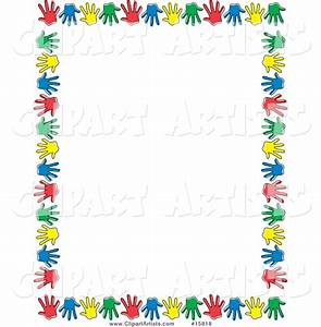 Handprint clipart border - Pencil and in color handprint ...