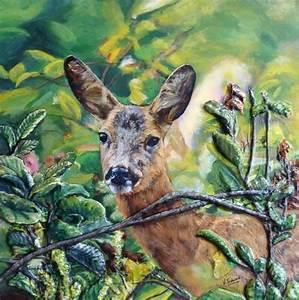 Tableau En Relief : peinture biche portrait toile acrylique en relief ~ Melissatoandfro.com Idées de Décoration
