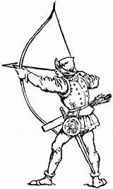 Archer Clipart Medieval Bow Drawing Long Archery Longbow Arrow Kleurplaat Etc Simple Man Ausmalbilder Broadhead sketch template