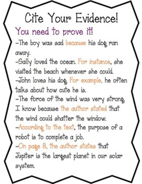Cite Evidence (anchor Chartworksheet) By Amy's Third Grade Adventures