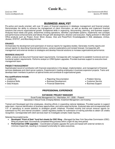 sle business analysis business analyst resume sles