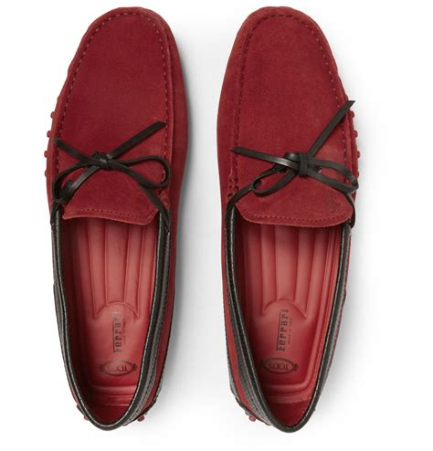Tods x ferrari driving shoes. Tod's Ferrari Gommino Suede And Leather Driving Shoes in Red for Men | Lyst
