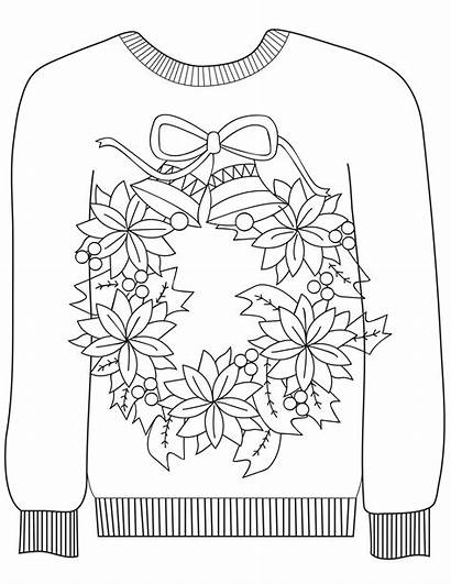 Sweater Ugly Coloring Christmas Wreath Pages Sweaters