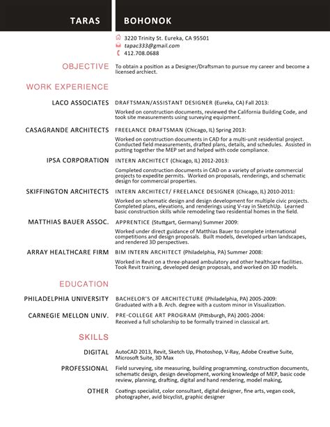 Draftsman Resume Objective by Harvard Resume And Cover Letter Pdf Actor Resume Special Skills List Computer Skills Section