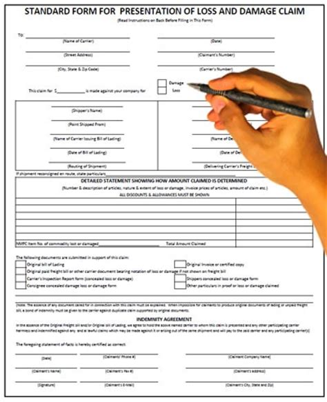 cargo claim form how to effectively file a freight claim