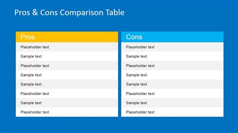 pros cons comparison table  powerpoint slidemodel