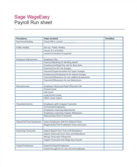 run sheet template   sample  format