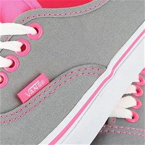 Vans Authentic Neon Pink Pop Frost Grey Womens US Size 6
