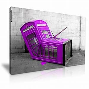 Banksy purple london phone box graffiti wall art print