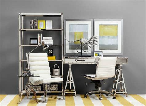 deco de bureau déco bureau gris et jaune