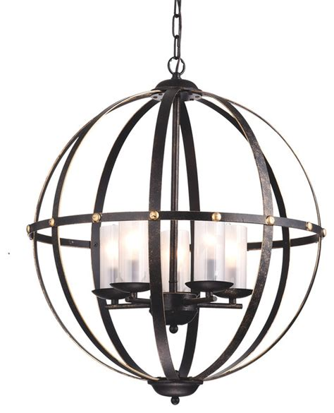 world globe cage chandelier bronze industrial