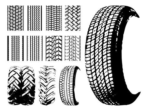 Tires And Tire Prints Vector Art & Graphics