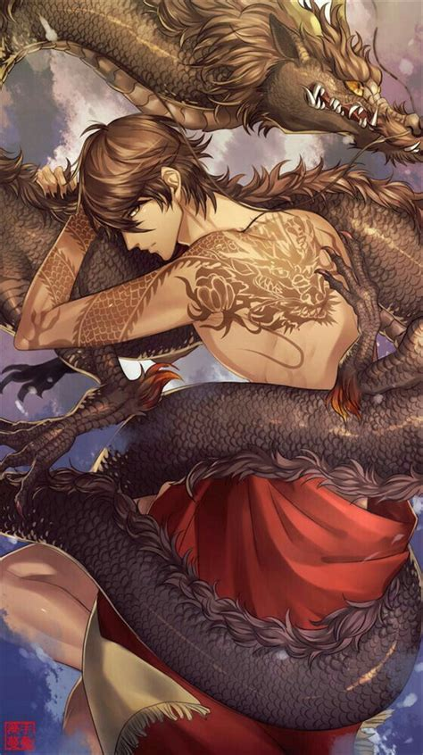anime boy dragon tattoo cool black hair anime guys