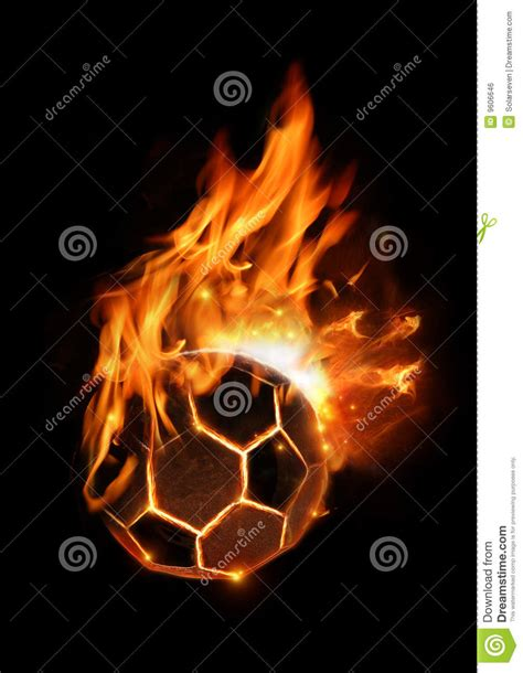 hot football  fire royalty  stock image image