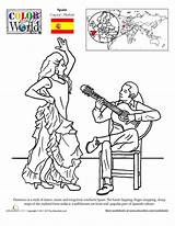 Flamenco Dance Worksheets Worksheet Spanish Coloring Pages Education Spain Geography Culture Places Music Sheets Hispanic Grade Dancers Heritage Dancing Month sketch template