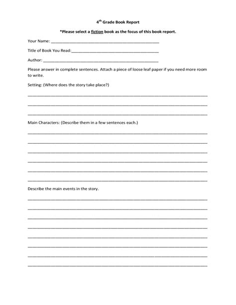 elementary school book report template free