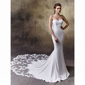 enzoani larissa wedding dress strapless with lace train With crepe wedding dress