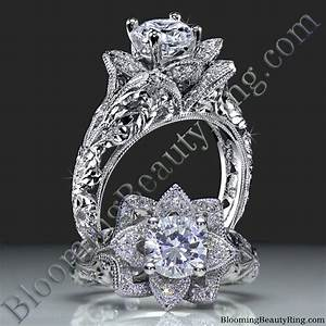 diamond embossed blooming rose engagement ring with etched With rose diamond wedding ring