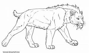 Free Wonky Smilodon Lineart By Tacimur On Deviantart