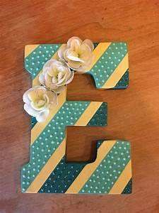 diy wall art painted wooden letter with stripes glitter With wooden letter art