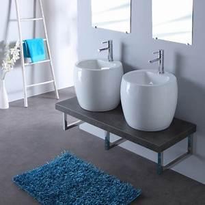 plan vasque double ceramique planetebain With salle de bain design avec plan vasque ceramique