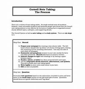 Cornell notes template 51 free word pdf format for Process notes template