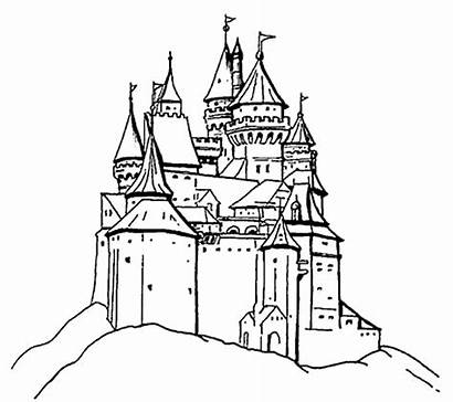 Castle Disneyland Coloring Drawing Princess Pages Clipart