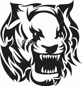 Tribal Vector Element With Tiger Head Stock Image