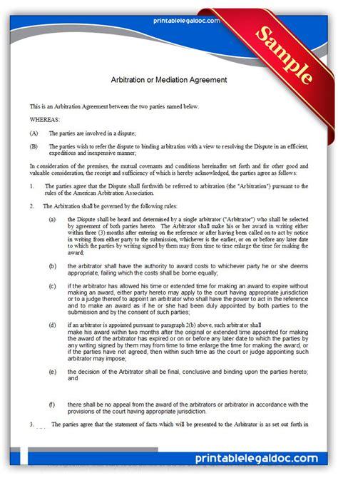 printable arbitration  mediation agreement form