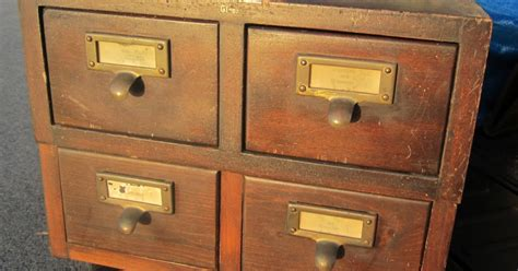 wunderful things wood card file cabinet 4 drawer