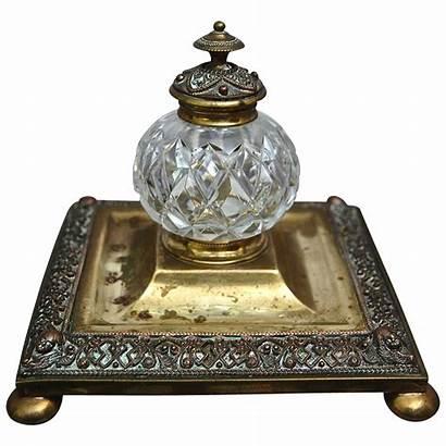 Inkwell Victorian Glass Brass Cut Inkwells Ink