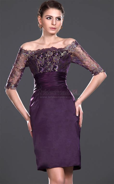 short   shoulder satin lace grape sheath vintage