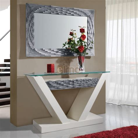 dictionnaire cuisine console entrée contemporaine avec miroir plateau verre dalhia