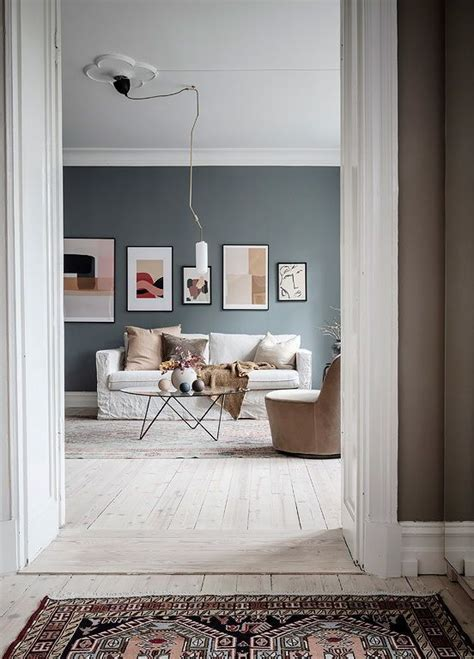 living room home  dusty blue  beige walls