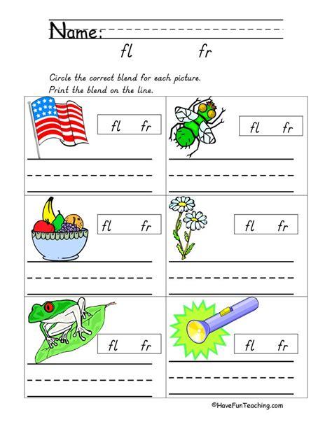 kindergarten worksheets blending sounds consonant sounds