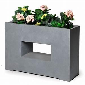 Bac à Fleurs : bac fleurs design fibre de terre l75 h53 cm gris l75 x l27 x h53 cm gamm vert ~ Teatrodelosmanantiales.com Idées de Décoration