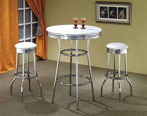 retro style white and chrome bar table bar