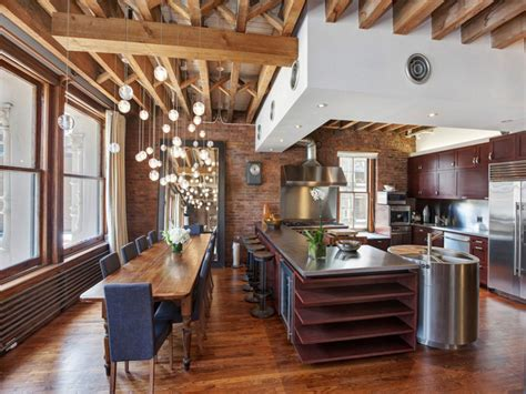 Cheap Modern Dining Room Light Fixtures by Contemporary Soho Loft With Exposed Brick And Wood Beams