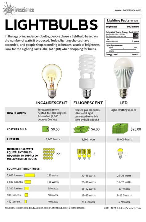 lightbulbs incandescent fluorescent led infographic