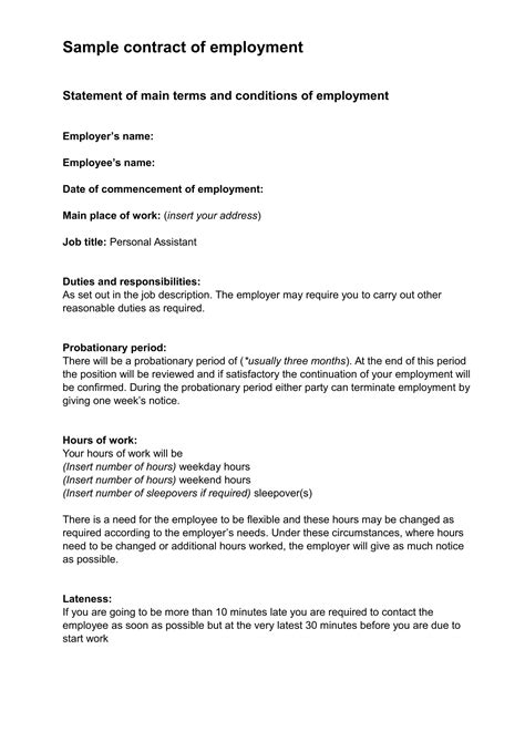simple contract of employment example