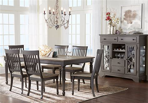 ocean blue grove gray  pc dining room rectangle
